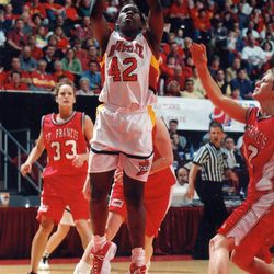 Desirée Francis (42) goes to work against St. Francis in the First Round of the NCAA Tournament held in Hilton Coliseum on March 17, 2000. The Cyclones won 92-63.