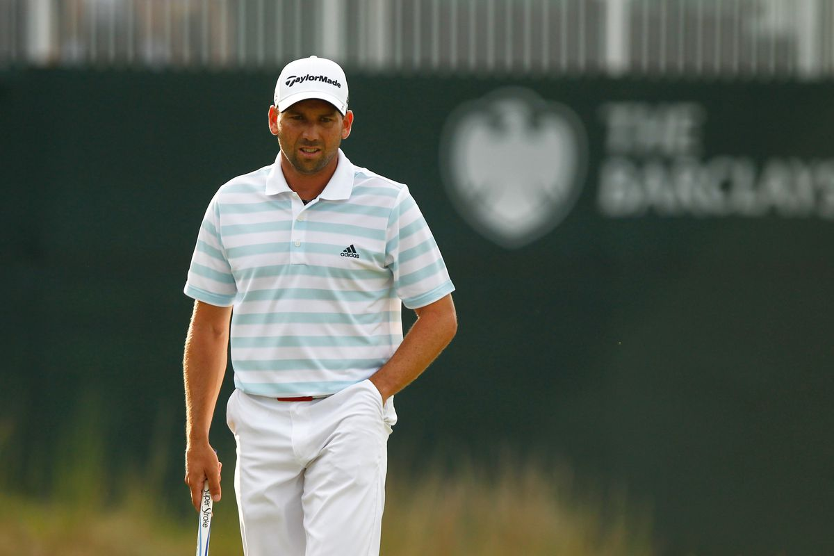 Aug. 25, 2012; Farmingdale, NY, USA; Sergio Garcia reads the 18th green during the third round of the Barclays at Bethpage State Park.  Mandatory Credit: Debby Wong-US PRESSWIRE