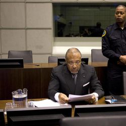 Former Liberian President Charles Taylor awaits the start of the prosecution's closing arguments during his trial at the U.N.-backed Special Court for Sierra Leone in Leidschendam Tuesday Feb. 8, 2011.
