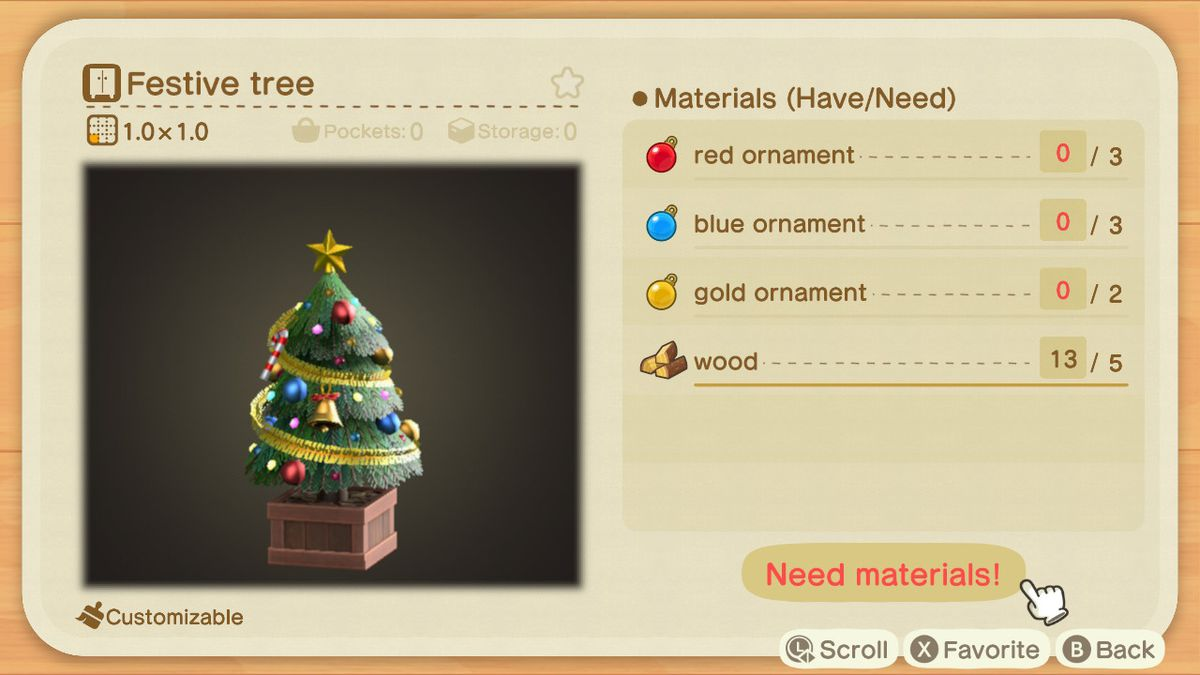 An Animal Crossing recipe for a Festive Tree