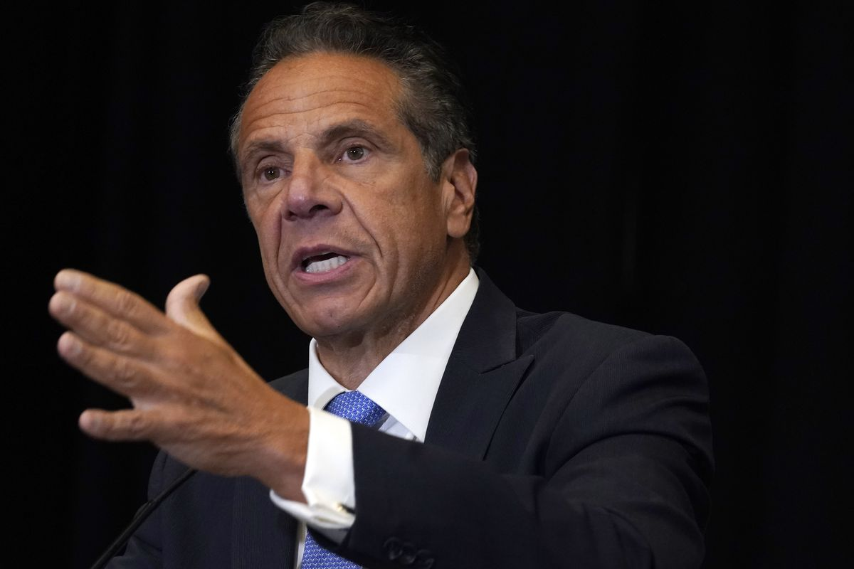 New York Gov. Andrew Cuomo speaks during a news conference at New York's Yankee Stadium, Monday, July 26, 2021. Investigators conducting an inquiry into sexual harassment allegations against Cuomo questioned him for eleven hours when he met with them last month, The New York Times reported Monday, Aug. 2.
