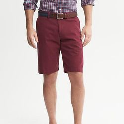 """<strong>Banana Republic</strong> Solid Short in Bright Wine, <a href=""""http://bananarepublic.gap.com/browse/product.do?cid=12640&vid=1&pid=456179232"""">$49.50</a>"""