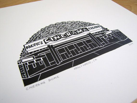 Black ink print of the Cinerama Dome in Hollywood