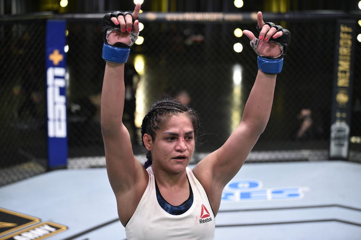 Cynthia Calvillo after the conclusion of her flyweight fight against Jessica Eye during the UFC Fight Night event at UFC APEX on June 13, 2020 in Las Vegas, Nevada.