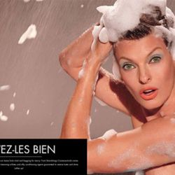 Linda Evangelista lathers up for shampoo commercial.