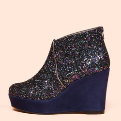 """<b>Tsumori Chisato</b> Mountain Booties in glitter, <a href=""""http://www.openingceremony.us/products.asp?menuid=2&catid=16&subcatid=62&designerid=7&productid=65207"""">$383</a> at Opening Ceremony"""