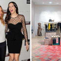 Stella McCartney and friend/host for the evening Liv Tyler share a laugh on the red carpet (L); The Stella McCartney shop on the second floor of Saks Fifth Avenue (R)