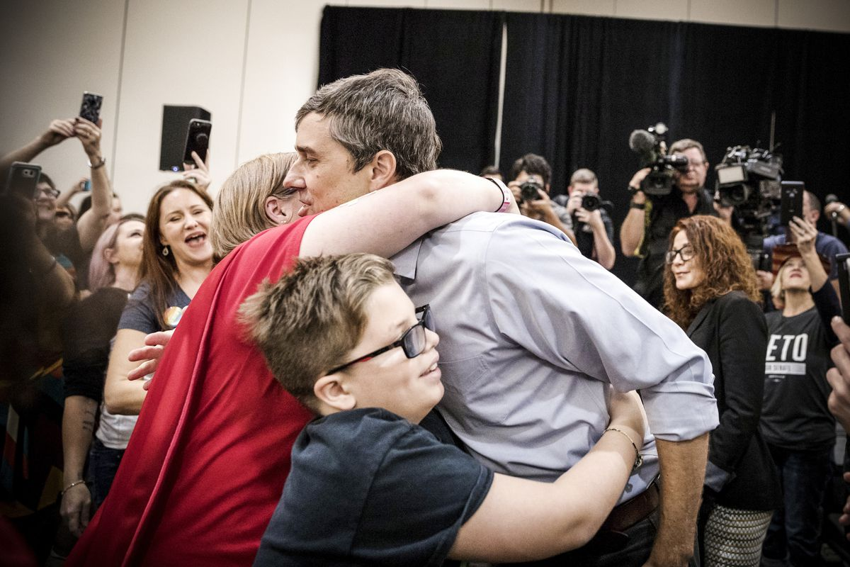 Beto O'Rourke at a campaign rally in Conroe, Texas,  on October 21, 2018.