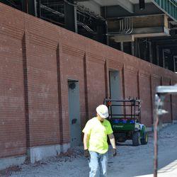 10:32 a.m. Exterior bleacher wall on Waveland -