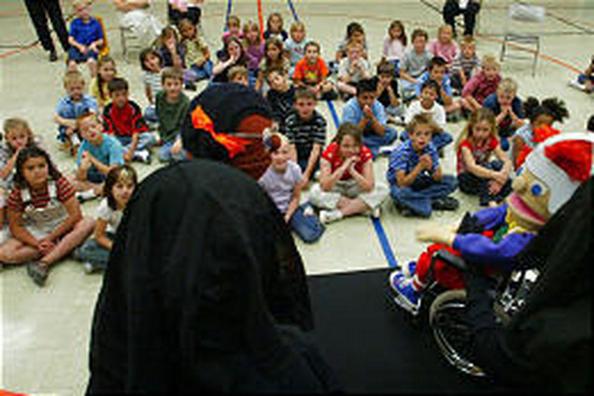 Assistance League of Salt Lake puts on puppet program for pupils at Westland Elementary in West Jordan.