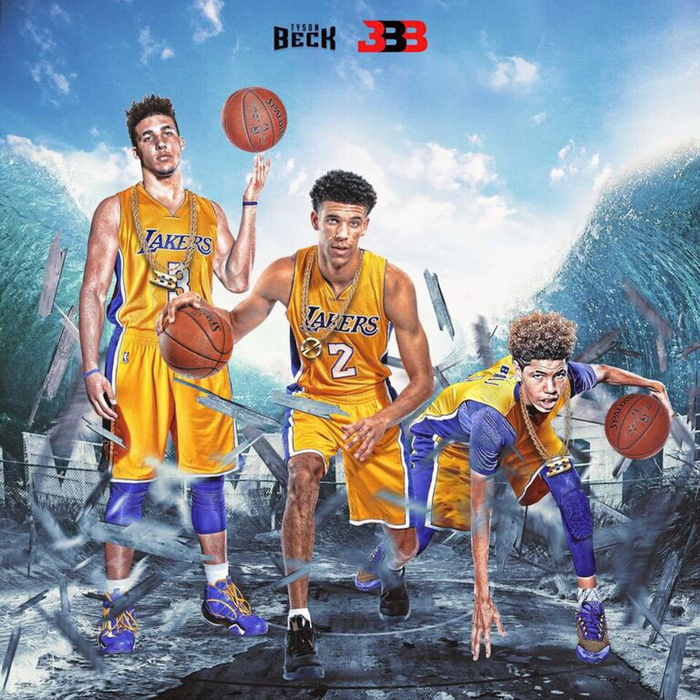 Big Baller Brand is photoshopping the entire Ball family as Lakers into existence