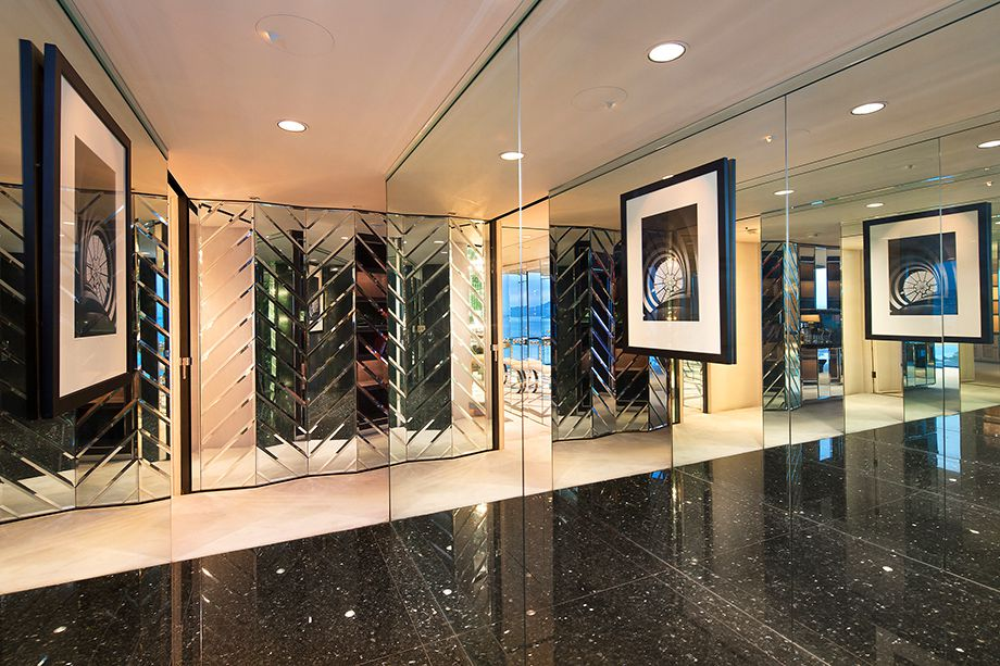 Mirror-covered foyer.