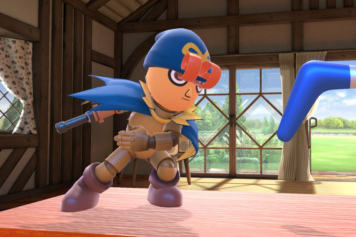 A Mii Fighter throws a boomerang in a Geno costume from Super Smash Bros. Ultimate