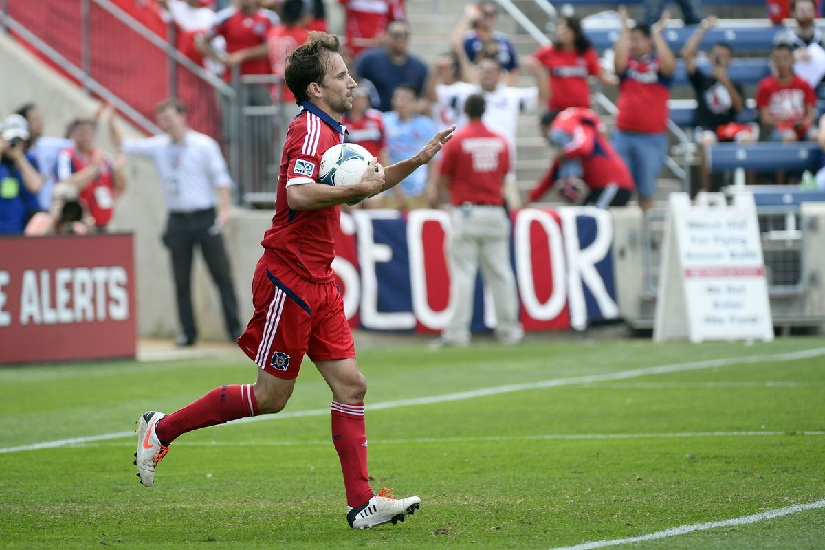 Mike Magee in his natural environment, having just scored a goal.
