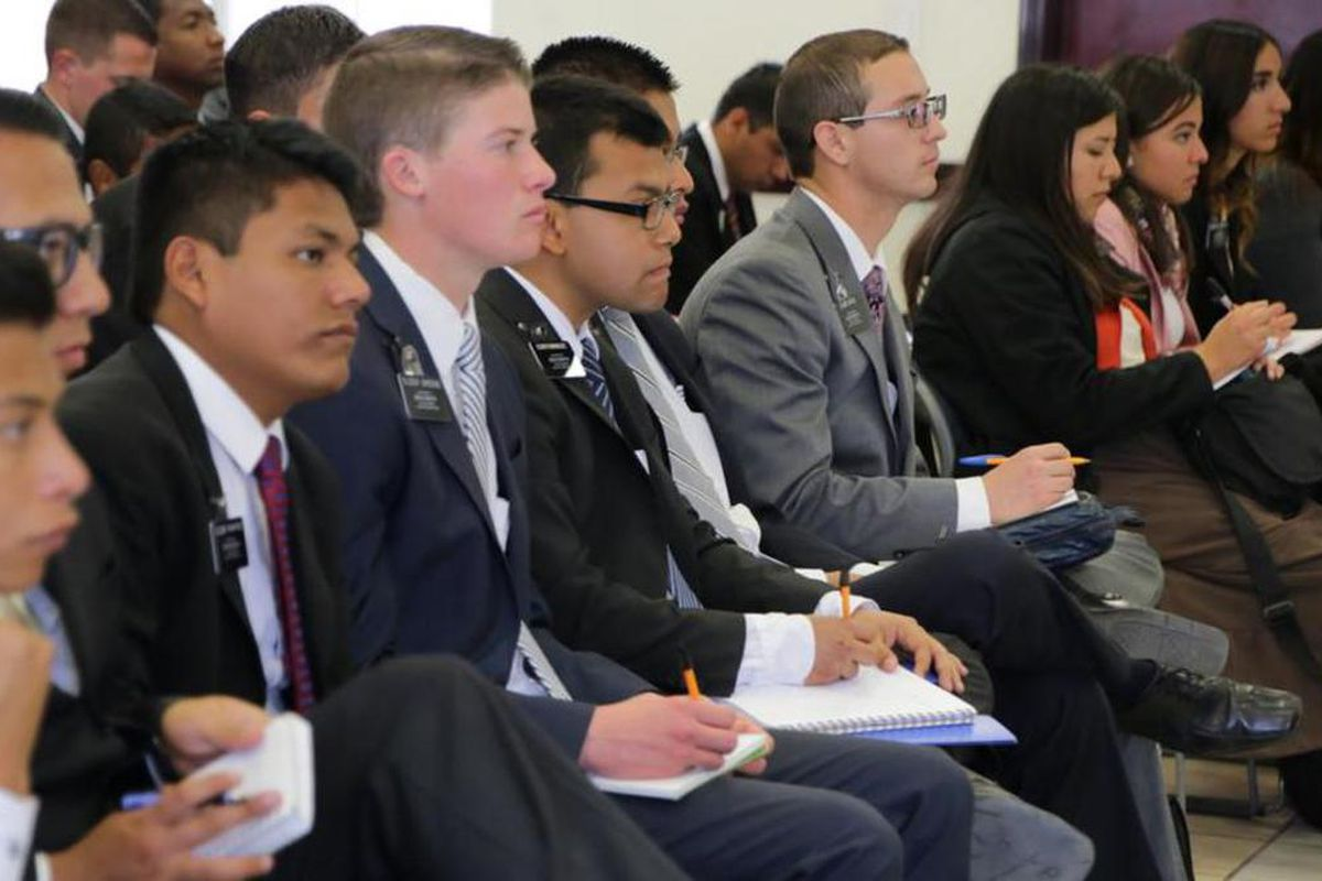 Both young men and young women serve missions around the globe. This photo was taken during a recent conference in the Aguascalientes Mission in Mexico. Young men can serve at age 18, and women can begin their service at age 19.