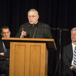 Most Reverend Charles J. Chaput, Archbishop of Philadelphia, visits BYU for the Lecture Series on Faith, Family and Society in the Wilkinson Student Center Varsity Theater on Jan. 23, 2015.