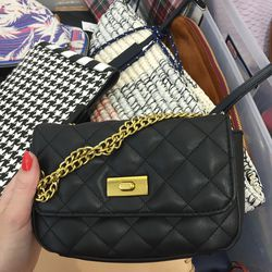 Small leather bag with chain strap, $90