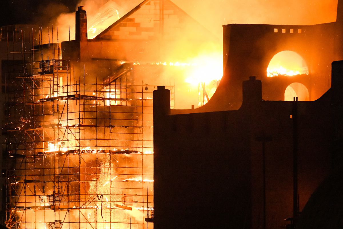 A building is ablaze.