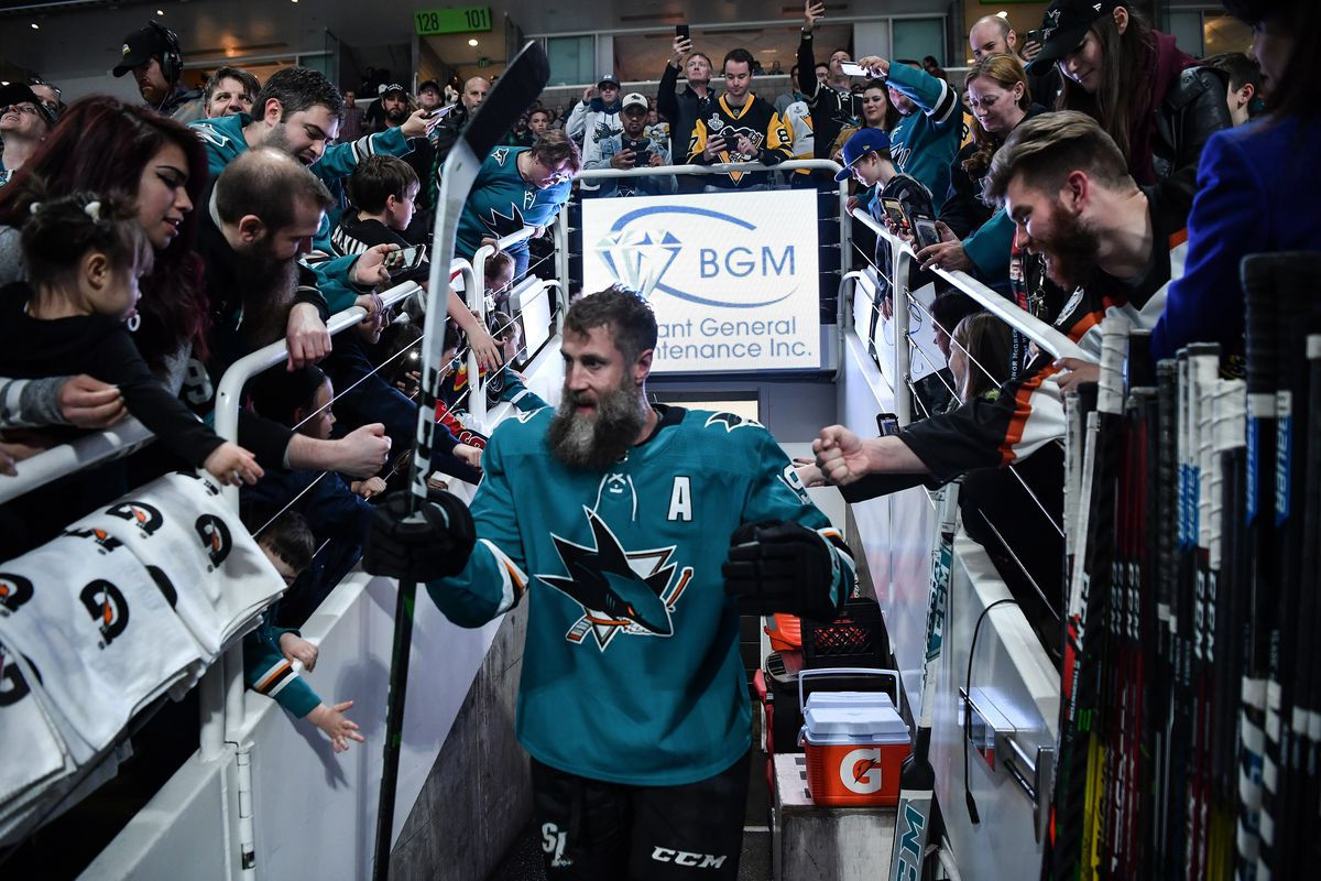 SAN JOSE, CA - FEBRUARY 29: Joe Thornton #19 of the San Jose Sharks walks out for warm ups before facing the Pittsburgh Penguins at SAP Center on February 29, 2020 in San Jose, California.