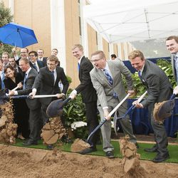 Dignitaries break ground for a new engineering building at BYU in Provo on Monday, May 9, 2016.The new building was entirely funded by donors.