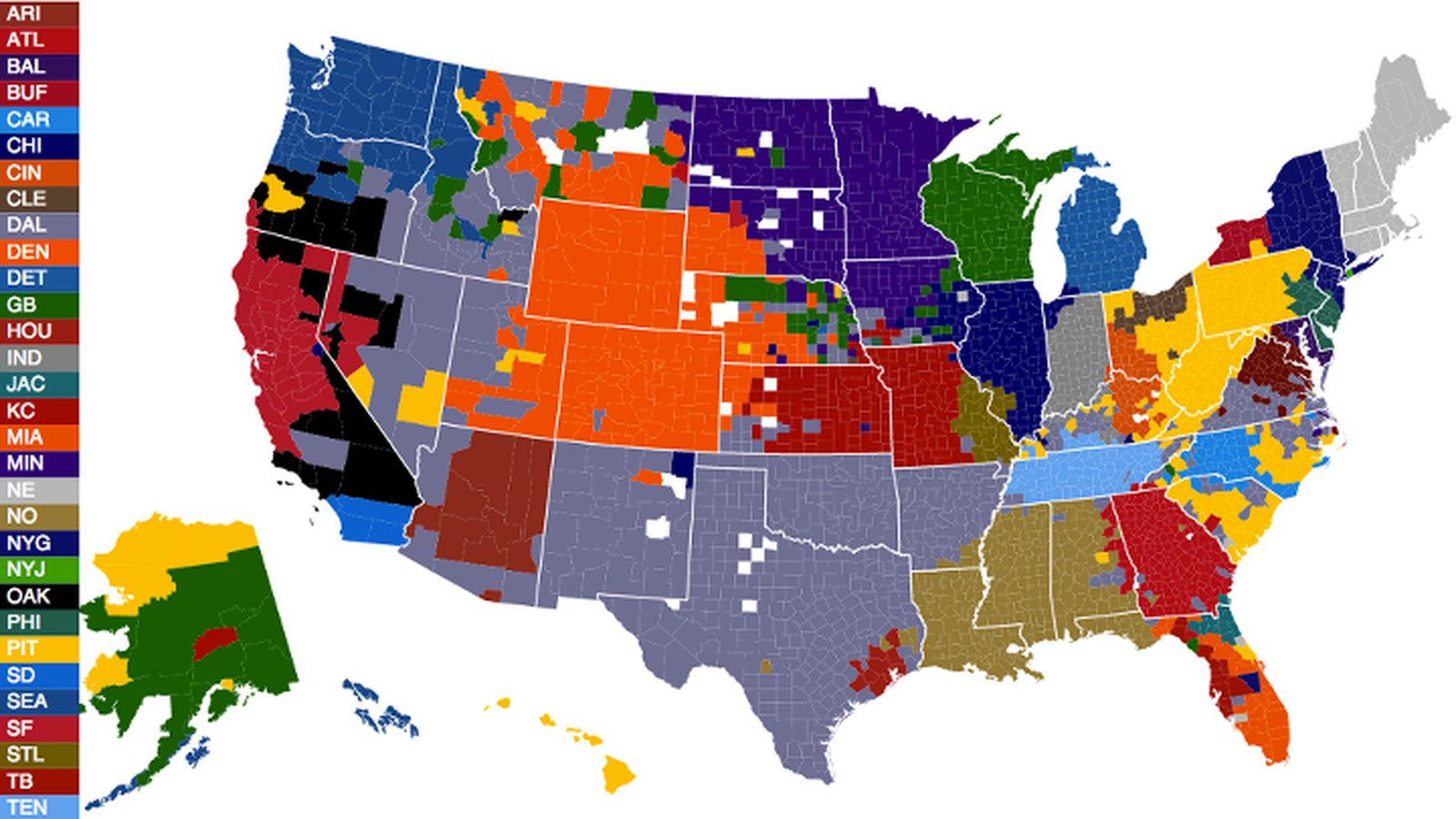 The Only NFL Fandom Map That Doesnt Suck SBNationcom - Atlanta falcons us fan map
