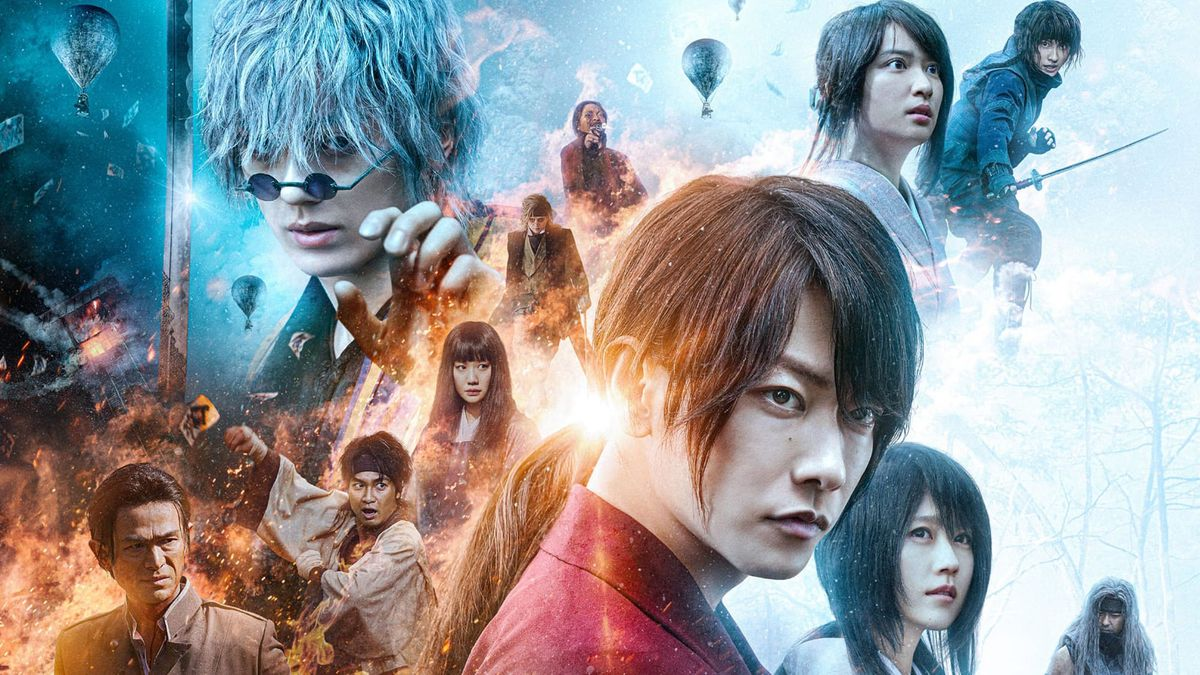 Rurouni Kenshin: The Final's poster, featuring a collage of characters against a dynamic background of fire and ice