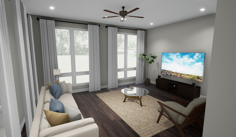 A rendering of a townhome's living room with gray walls and a large TV.