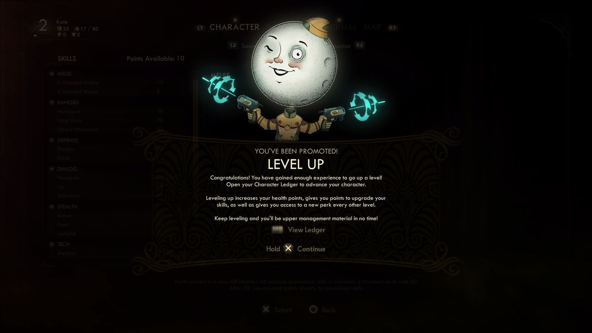 """The level-up screen in The Outer Worlds. Each time you gain a level, players can increase their health and spend points on perks. The iconic """"moon man"""" character headlines this tutorial page."""