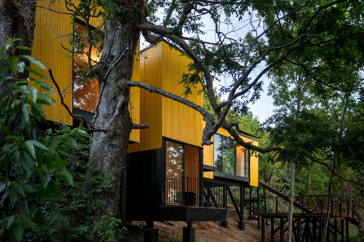 Yellow house in trees