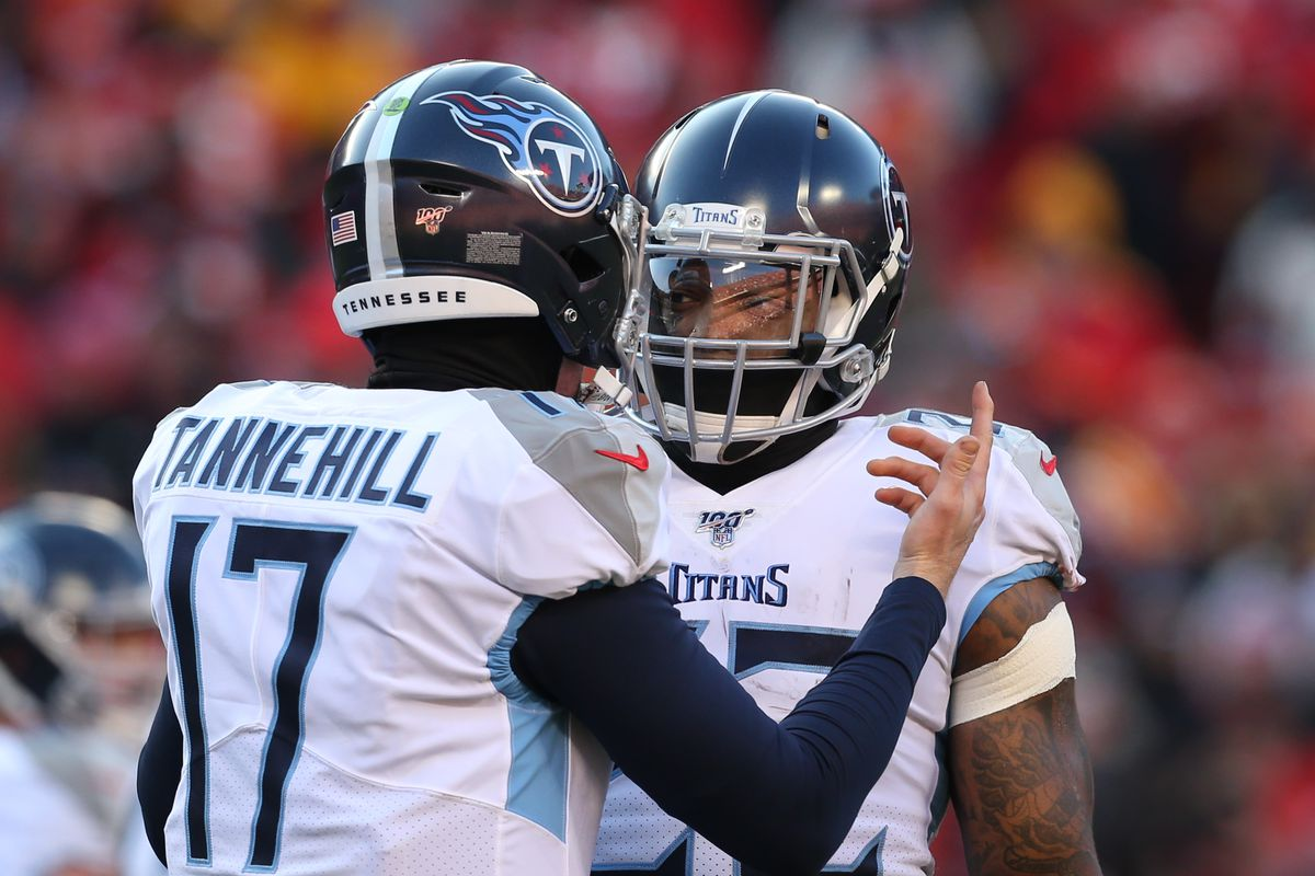Tennessee Titans quarterback Ryan Tannehill talks with running back Derrick Henry in the first quarter of the AFC Championship game between the Tennessee Titans and Kansas City Chiefs on January 19, 2020 at Arrowhead Stadium in Kansas City, MO.