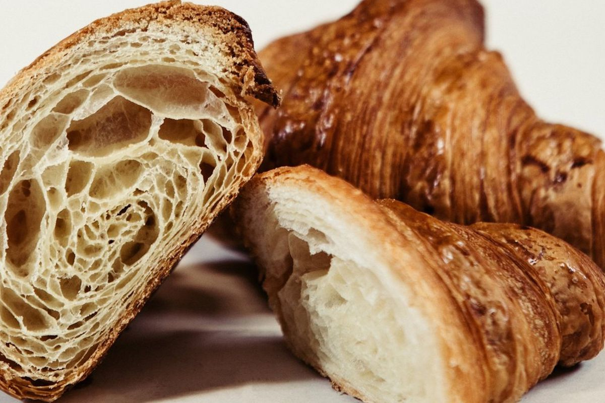 Croissants from Little Bread Pedlar cut to reveal their layers