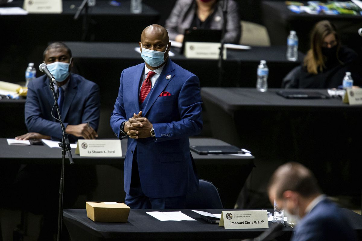 """State Rep. Emanuel """"Chris"""" Welch, D-Hillside, stands to vote for himself as Illinois Speaker of the House last week at the Bank of Springfield Center."""