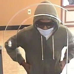 Surveillance image of the suspected bank robber