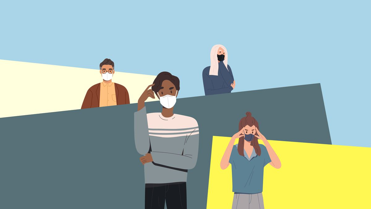 Illustration of four people wearing masks and worrying.
