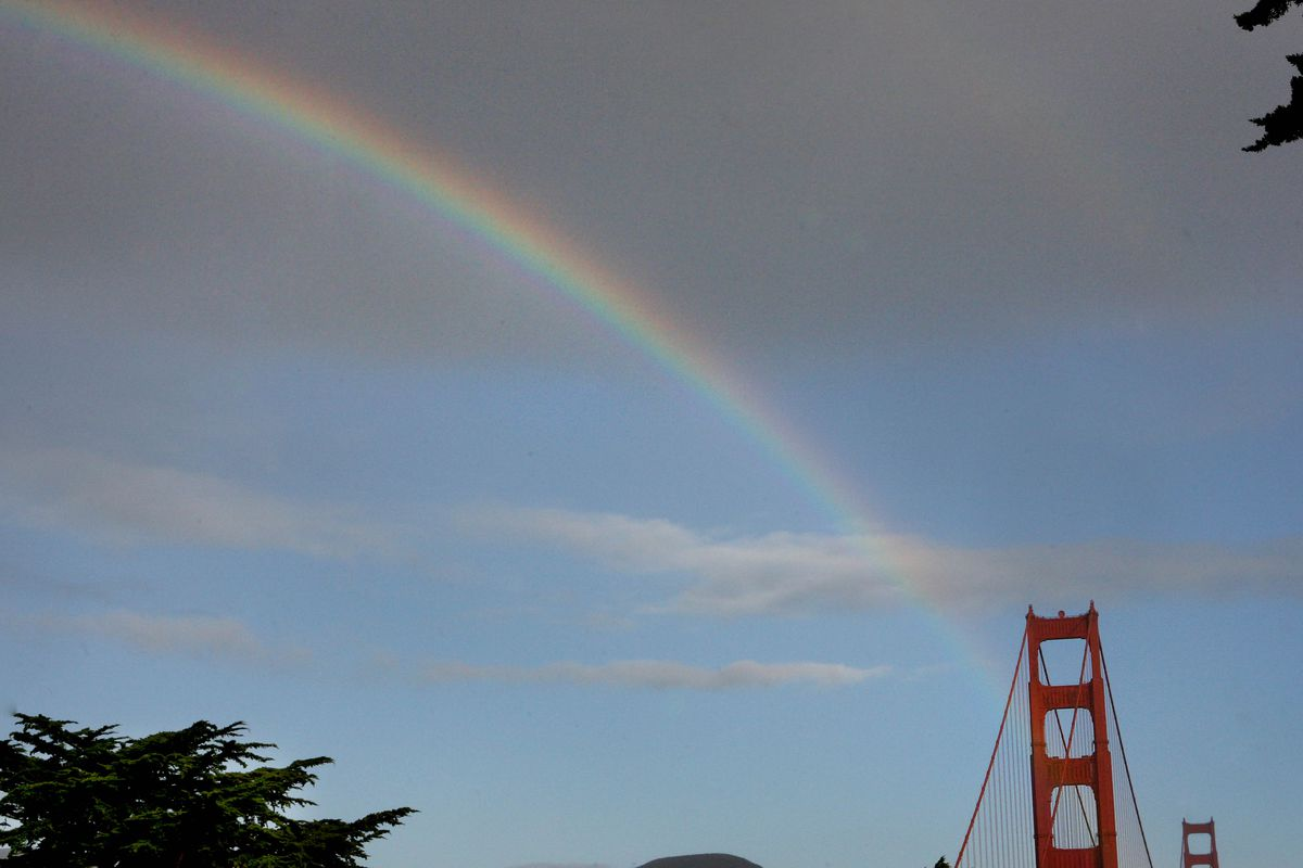 During the morning commute motorist drove through the pot of gold which was on the Golden Gate Bridge followed by a beautiful rainbow...