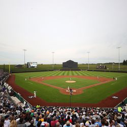 A general view of the Field of Dreams during the first inning between the Chicago White Sox and the New York Yankees on August 12, 2021 in Dyersville, Iowa.