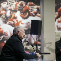 Bob Garff speaks during a groundbreaking ceremony for the new Ken Garff Performance Zone before the start of an NCAA football game between the Utah Utes and Colorado Buffaloes at Rice-Eccles Stadium in Salt Lake City on Saturday, Nov. 30, 2019.