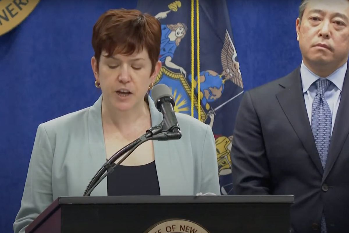 Attorney Anne Clark speaks at a press conference on report that Governor Andrew Cuomo has sexual harassed past and present employees, August 3, 2021.