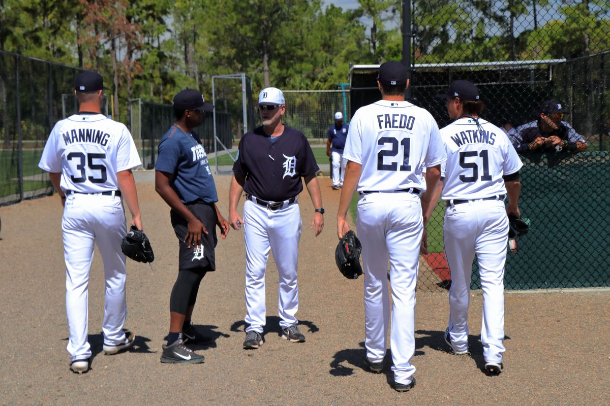Tigers pitching prospects Matt Manning (35), Alex Faedo (21) and Spencer Watkins (51)