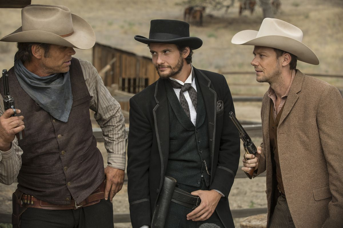 Chris Browning, Ben Barnes, and Jimmi Simpson in HBO's Westworld, episode 104.