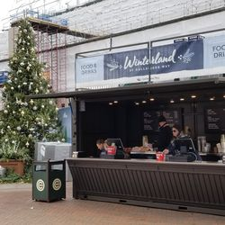 Concession stand for Winterland, with holiday tree
