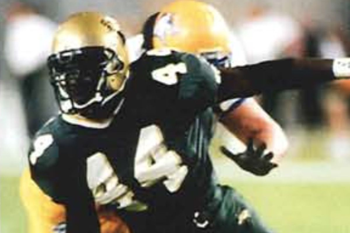 USF LB/DE Vassay Marc in action against (we think) New Haven in 1999.