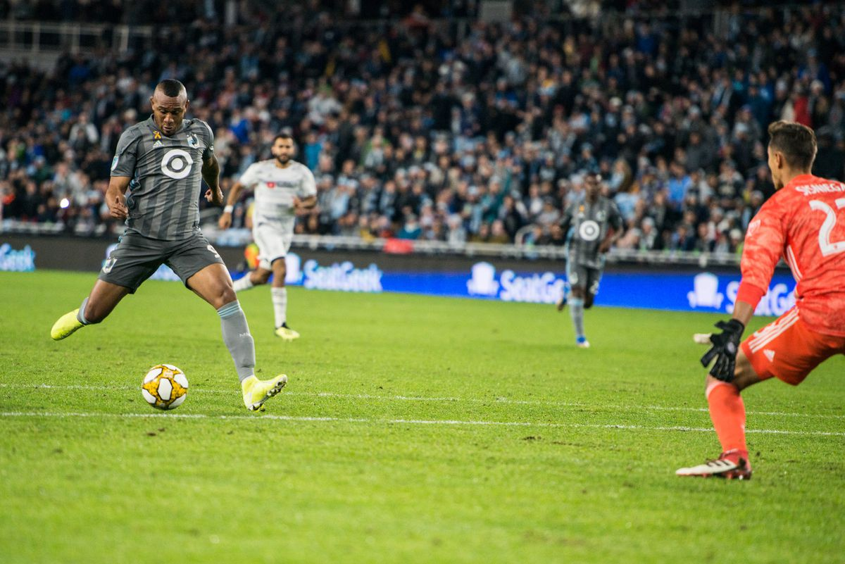 September 29, 2019 - Saint Paul, Minnesota, United States - Angelo Rodriguez takes a shot during an MLS match between Minnesota United and Los Angeles Football Club at Allianz Field (Photo: Tim C McLaughlin)