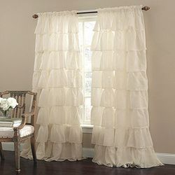 """9) Window treatments. Let in natural light with elegant sheers. <a href=""""http://www.marburn.com/browse.cfm/gypsy/2"""">Gypsy Panel-Rod Pocket Curtains</a>, $21 from Castor Avenue's Marburn Curtains"""