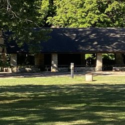 A picnic shelter at the Forest Preserve District of Cook County's Allison Woods that was built during the Depression through a public works project, probably the Civilian Conservation Corps or the WPA.