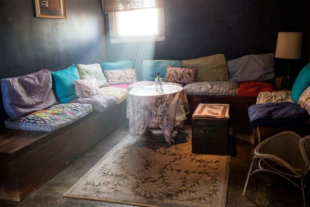 Sitting area of the house, which has a bohemian lounge look.