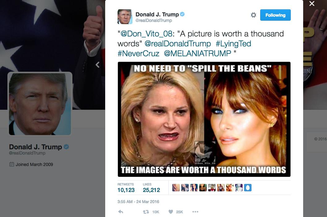 Screenshot of disparaging tweet about Heidi Cruz from Trump