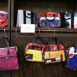 Recycled plastic handbags and carryalls.