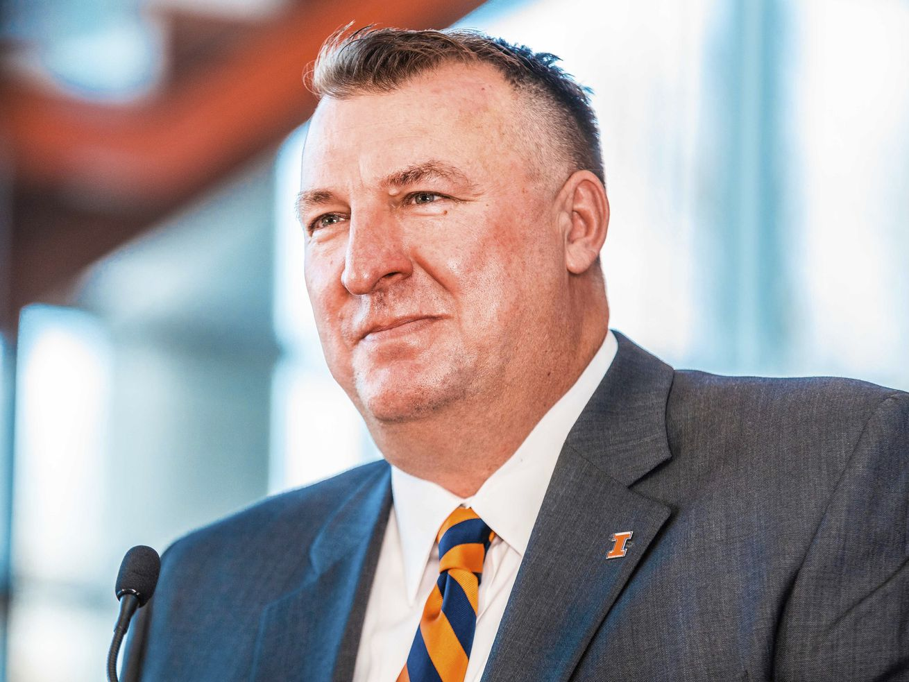Incoming Illinois football coach Bret Bielema speaks at a news conference at Smith Football Center in Champaign.