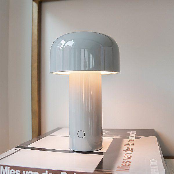 White mushroom-shaped lamp.